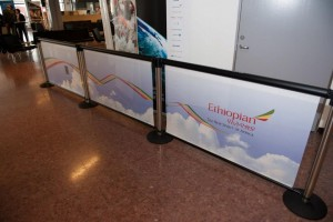 Q-Banner Airport Advertising Display for Belt Stanchions
