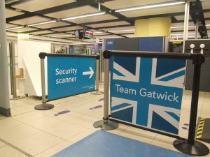 Q-Banner Advertising Stanchion Billboard at Gatwick Airport