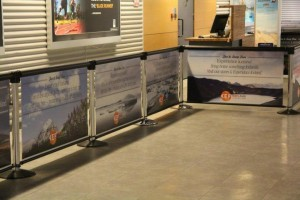 Q-Banner Custom Billboard System for Use in Airports and Musuems