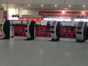 Q-Banner Custom Stanchion Display at an Airport