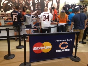 Q-Banner Custom Belt Stanchion Billboard at the Chicago Bears Stadium